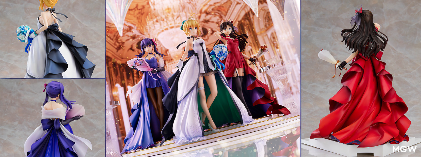 Saber, Rin Tohsaka and Sakura Matou 15th Celebration Dress Ver. Premium Box by Good Smile Company from Fate/stay night MGW Header