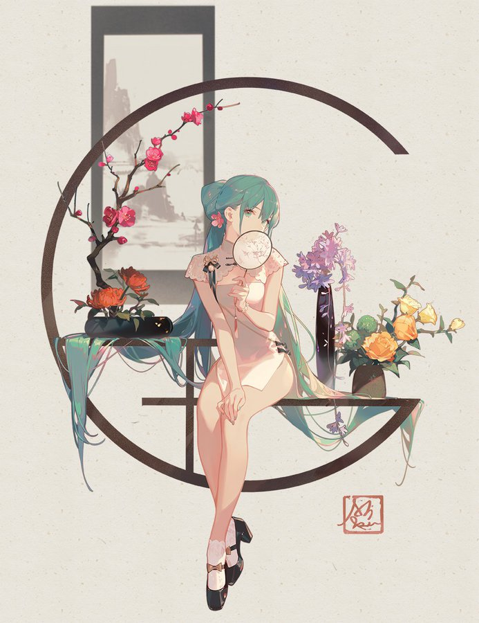 Hatsune Miku Shaohua original illustration by ASK